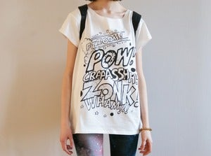 Image of POW white raw t-shirt