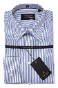 Image of KLAUSS KL780-45 WHITE AND BLUE LINED SHIRT