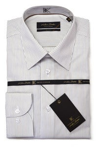 Image of KLAUSS KL780-05 WHITE AND SAND LINED SHIRT