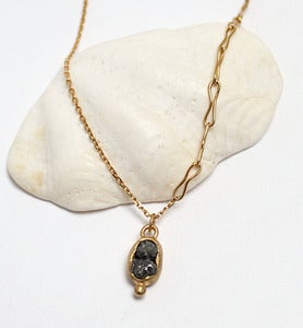 Image of Rough diamond pod pendant, gold plated sterling silver