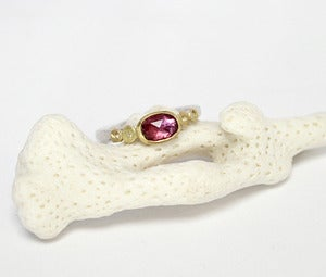 Image of Raspberry pink rose cut sapphire ring