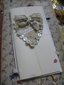 Image of Button and lace wedding card
