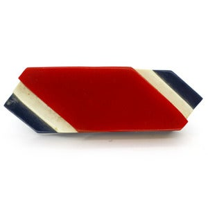 Image of Vintage Early Plastic Lucite Red White &amp; Blue French Sweetheart Layered Pin Brooch