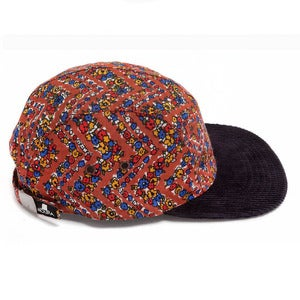 Image of MOUPIA Floral/navy cord. 5 panel hat
