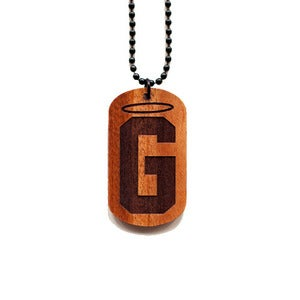 Image of Halo G Wooden Dog Tag in Mahogany
