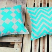 Image of Aqua Reversible Linen Mix Cushion Covers