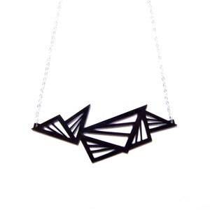 Image of geometric abstraction multi triangle acrylic necklace [black - large size]
