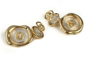 Image of Gold Mini Wax Seal Cufflinks (A-Z) NEW