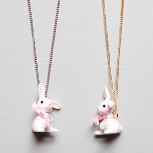 Image of Porcelain White Bunny Necklace by And Mary