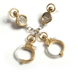 Image of Gold Handcuff Chain Earrings NEW