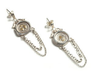 Image of Polished Silver 19th c. Mini Wax Seal Chain Earrings NEW