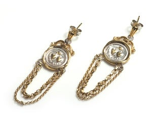 Image of Gold 19th c. Mini Wax Seal Chain Earrings NEW