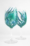 Peacock Feather Wine Glasses - Set of 2
