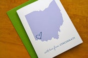 Image of Custom State Love Cards - Olive Green & Lavender - Pack of 6