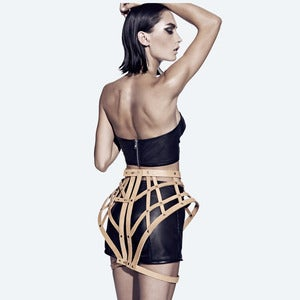 Image of Leather Symmetrical Skirt