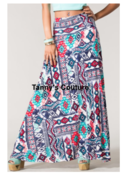 Image of High waist unique printed multi color maxi skirt