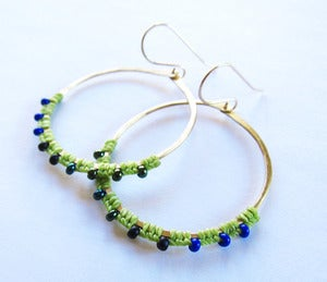 Image of Gold & Silver Full Moon Rising Earrings in Spring Colors!! more!!