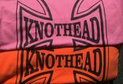 "Image of KNOTHEAD - ""Iron Cross"" black on orange/pink unisex tee (S-4X) w/ FREE CD - $15"