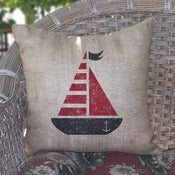 Image of Sail Boat Burlap Pillow