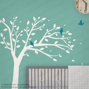 Image of Peaceful Tree with Birds Wall Decal Sticker