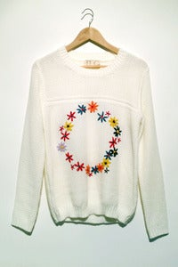 Image of knitted embroidery floral circle jumper