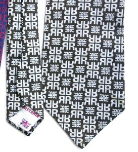 "Image of Vintage 1971 David Hicks Tie, Geometrically Monogrammed ""R"""