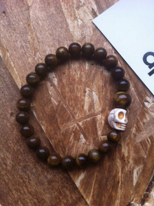 Image of Tiger Eye Beads with Howlite Skull