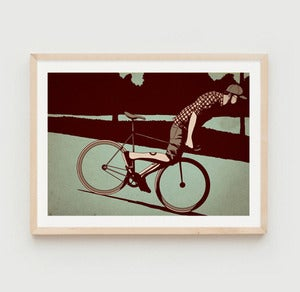 Image of 'Fixie Lean' print by Adams Carvalho