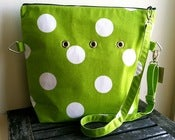 "Image of ""Totable"" Yarn Pop - Green w/White Polka Dots"