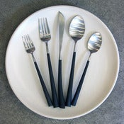 Image of 5 piece Noor brushed steel cutlery set