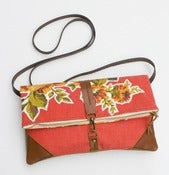 Image of foldover bag in tomato red with vintage floral appliques (b)