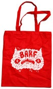 Image of BARF (tote) bag in white on red