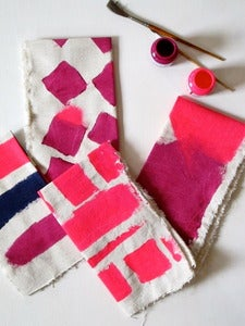 Image of hand painted napkins - pink/purple