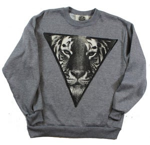 Image of UNISEX GREY TIGER CREWNECK