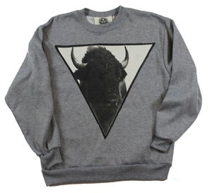 Image of UNISEX GREY BUFFALO CREWNECK 