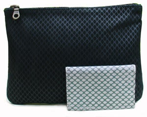 Image of Hand Made Fishnet Printed Black Leather Purse
