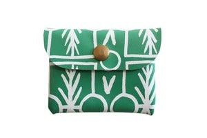 Image of Card Holder- Green Leather with White Talisman