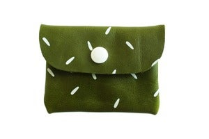 Image of Card Holder- Emerald Green Leather with White Seeds