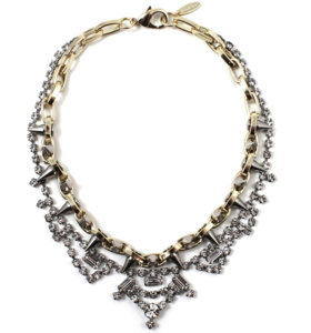Image of Metal-Luxe Crystal & Spike Necklace - Crystal/Gold/Silver Spikes