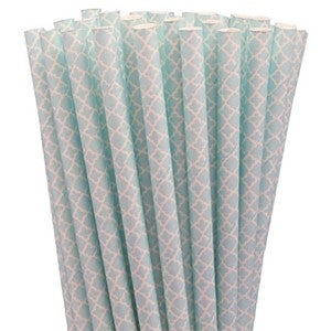 Image of NEW! Paper Straws - Lace (Baby Blue)