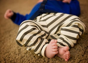Image of organic cotton striped leggings