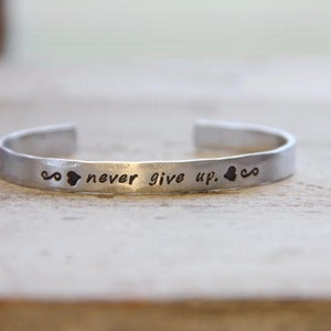 Image of Never Give Up skinny cuff bracelet