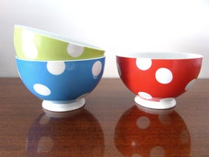 Image of 3 BOLS  POIS EN PORCELAINE REF.1316