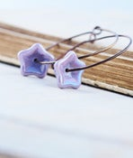 Image of Lavender Purple Czech Glass Iridescent Flowers Suspended on Handmade Hoops - Meadow Hoop Earrings