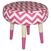 Image of Hot Pink Chevron Footstool LIMITED EDITION