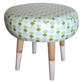 Image of Sweet blue and green oilcloth footstool