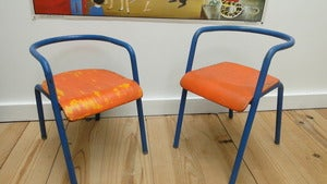 Image of Fauteuil Delagrave Bleu et orange ... Vintage kids Chairs