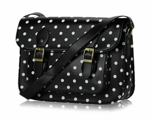 Image of Jet Black Polka Dot Classic Satchel