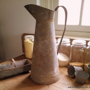 Image of Tall Antique Zinc Pitcher