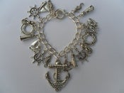 Image of Silvertone Large Anchor Nautical Rockabilly Seaside Boat Kitsch Charm Bracelet